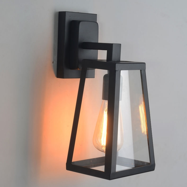 Antique Matte Black Lantern Indoor/outdoor Wall Sconce Lighting Lamp pertaining to Outdoor Wall Sconce Lighting Fixtures (Image 2 of 10)