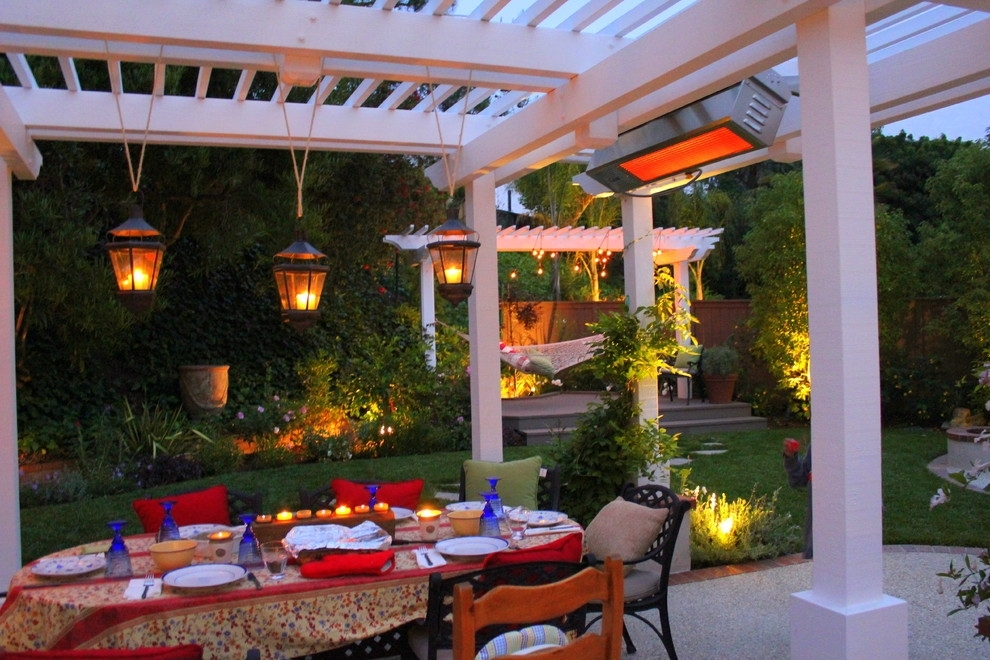 Antique Outdoor Pendant Lights For A White Patio With Oval Dining within Outdoor Hanging Lanterns For Patio (Image 1 of 10)