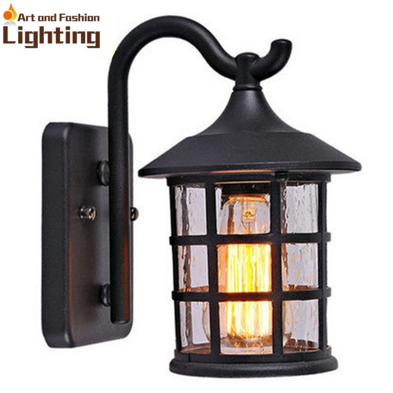 Antique Rustic Iron Waterproof Outdoor Wall Lamp Vintage Kerosene with Rustic Outdoor Wall Lighting (Image 1 of 10)
