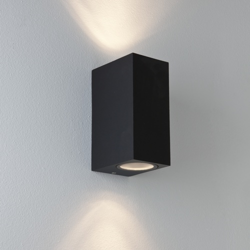 Astro 7061 Oslo 160 2 Light Led Wall Ip65 Black For Outside Plan inside Small Outdoor Wall Lights (Image 1 of 10)