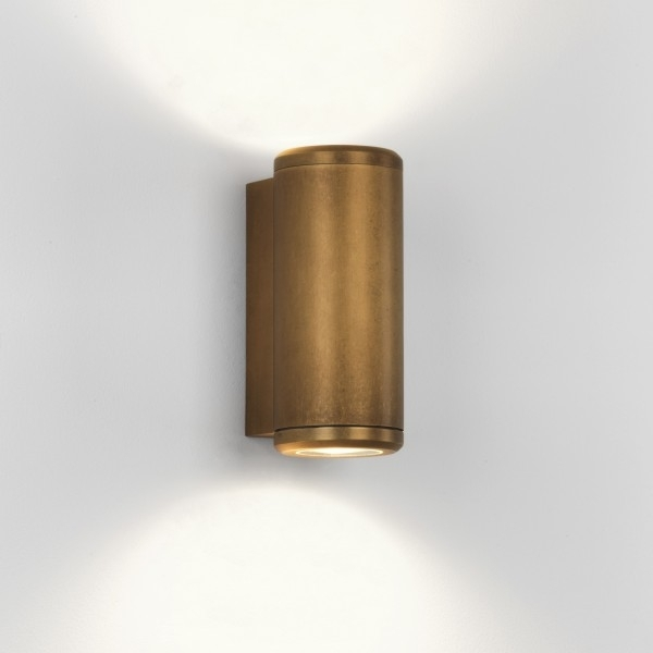 Astro Jura Coastal Twin Antique Brass Outdoor Wall Light At Uk With Brass Outdoor Wall Lighting (View 2 of 10)