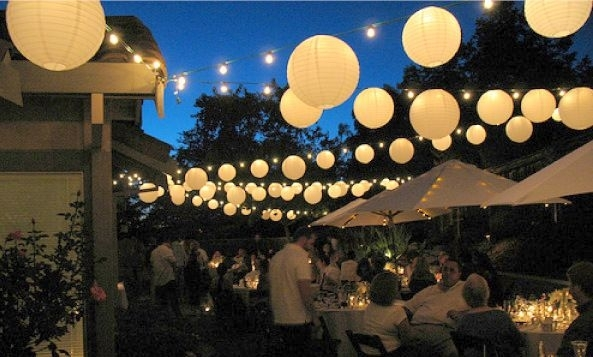 Attach Strings Between The Trees And Hang Lots Of Paper Lanterns within Outdoor Hanging Paper Lantern Lights (Image 3 of 10)