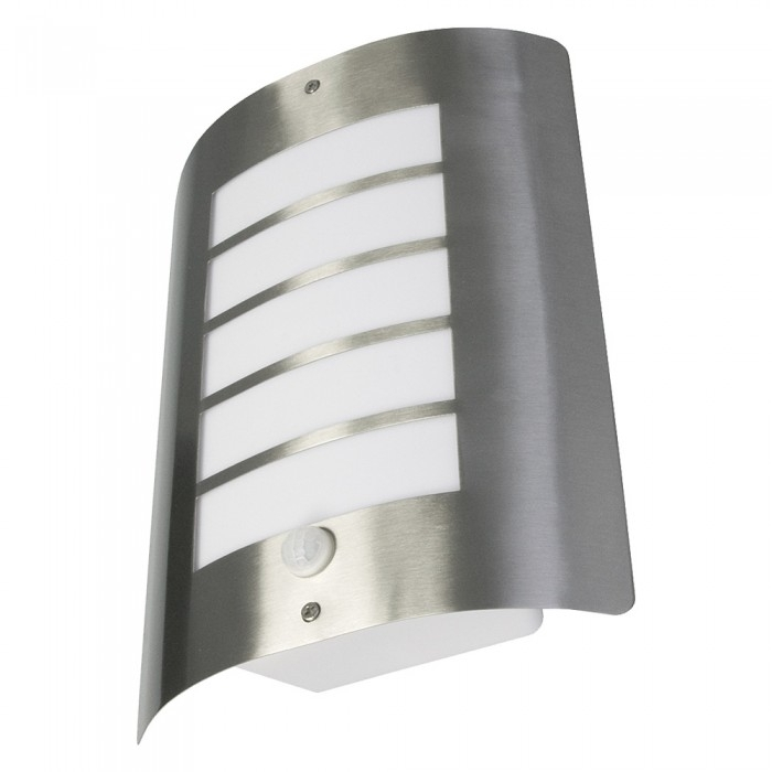 Avon 60 Watt Ip44 Outdoor Wall Light With Pir - Stainless Steel intended for Outdoor Wall Lights With Pir (Image 2 of 10)