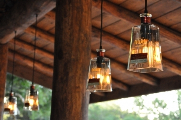 Awesome Fabulous Tequila Clear Glass Bottle Pendant Lamp In A Patio intended for Diy Outdoor Hanging Lights (Image 2 of 10)