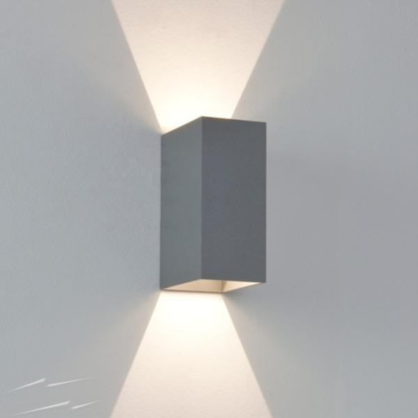 Ax7060 – Oslo 160 Painted Silver Ip65 Up And Down Led Wall Light For Inside Silver Outdoor Wall Lights (View 2 of 10)