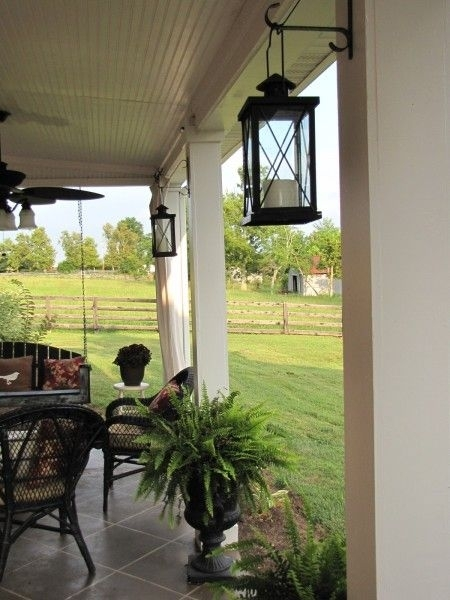 Back Patio Reveal | Hanging Lanterns, Urn And Fern throughout Outdoor Hanging Lanterns For Patio (Image 3 of 10)
