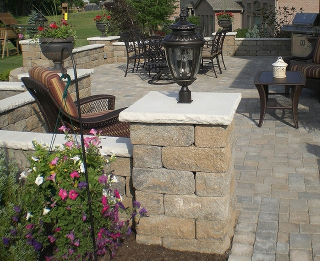 Backyard Paver Patio With Accent Lighting - Contemporary - Patio with regard to Outdoor Block Wall Lighting (Image 2 of 10)