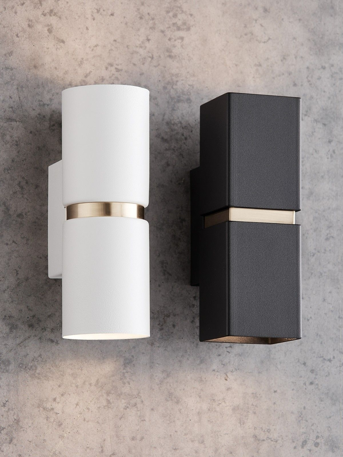 Baristo 2 Light Up/down Round Wall Bracket In White/brass | Powder regarding Beacon Outdoor Wall Lighting (Image 2 of 10)
