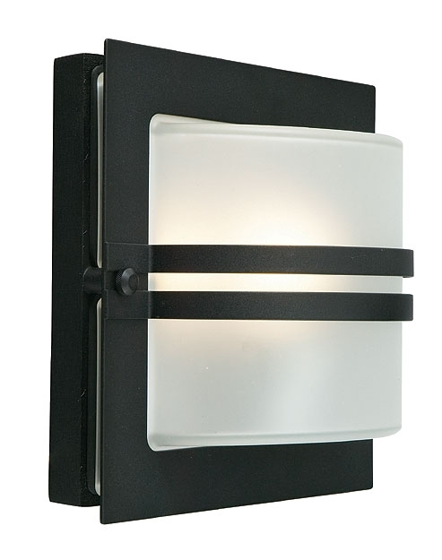 Bern Art Deco Frosted Glass Outdoor Wall Lantern Black Bern/e27/blk/f throughout Art Deco Outdoor Wall Lights (Image 4 of 10)