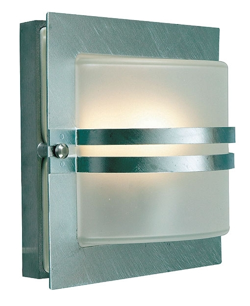 Bern Art Deco Frosted Glass Outdoor Wall Lantern Galvanised Bern/e27 in Art Deco Outdoor Wall Lights (Image 5 of 10)