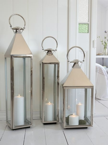 Big Stainless Steel Lanterns | Stainless Steel, Steel And House With Outdoor Hanging Lanterns Candles (View 3 of 10)