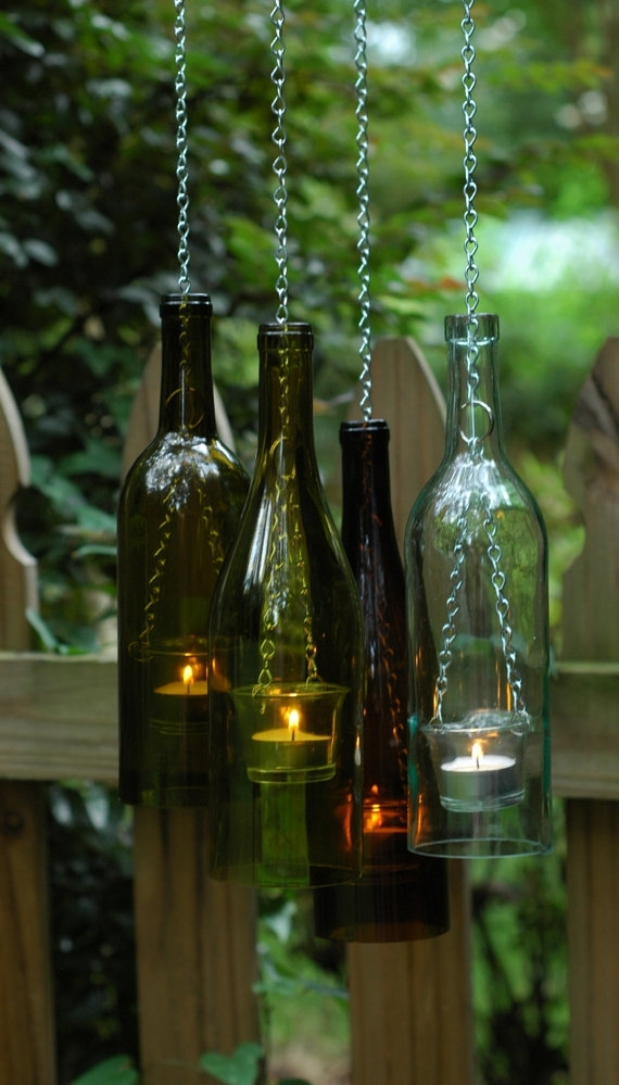 Bottle & Chain Hanging Wine Bottle Lantern. Glass Tea Light Candle inside Outdoor Hanging Tea Lights (Image 6 of 10)