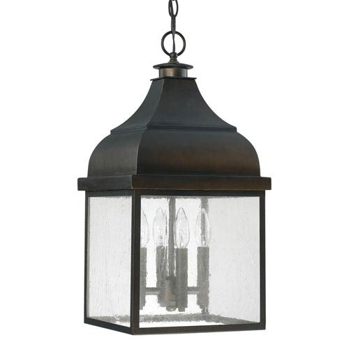 Bronze Oil Rubbed Outdoor Hanging Lighting | Bellacor with regard to Outdoor Rated Hanging Lights (Image 3 of 10)