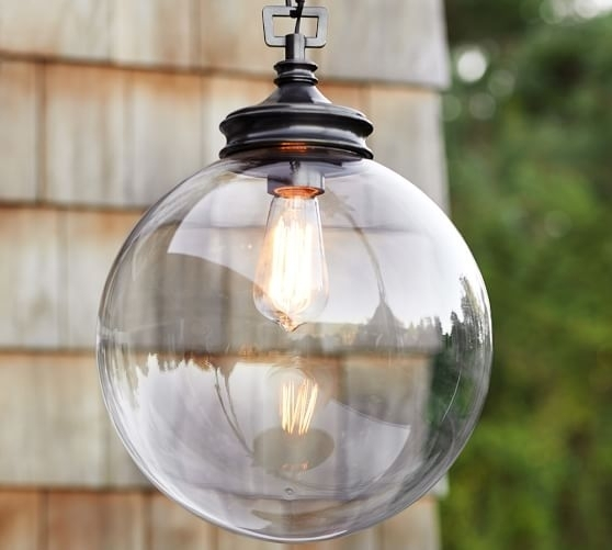 Calhoun Glass Indooroutdoor Pendant Pottery Barn Throughout Outdoor intended for Indoor Outdoor Hanging Lights (Image 2 of 10)