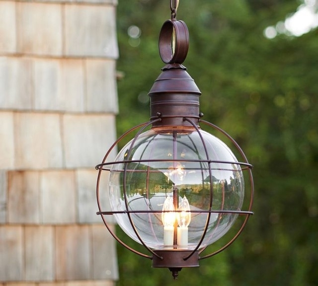 Calhoun Glass Pendant Pottery Barn Midcentury Pendant Lighting with Outdoor Hanging Barn Lights (Image 2 of 10)