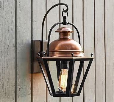 Case Sconce, Bronze & Antique Copper Finish | Indoor Outdoor, Lights throughout Pottery Barn Outdoor Wall Lighting (Image 3 of 10)