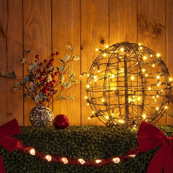 Christmas Light Ball With Warm White Led Lights. Hang Light Balls for Outdoor Hanging Ornament Lights (Image 1 of 10)