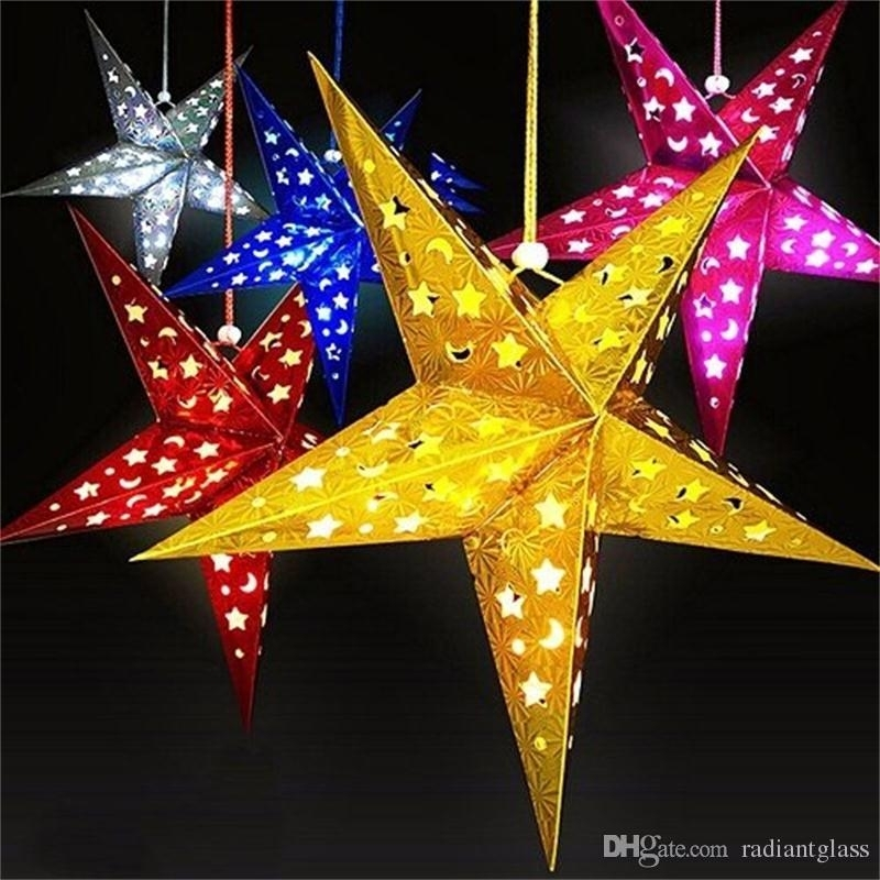 Christmas Paper Star Lantern 3D Pentagram Lampshade For Christmas within Outdoor Hanging Star Lanterns (Image 2 of 10)