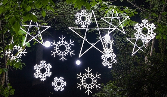 Popular Photo of Outdoor Hanging Snowflake Lights