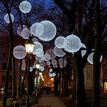 Christmas Street Lights Hanging Flashing 3D Led Light Sphere Ball for Outdoor Hanging Sphere Lights (Image 2 of 10)