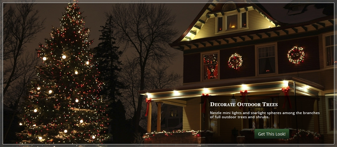 Christmas Yard Decorating Ideas with regard to Hanging Lights on Large Outdoor Tree (Image 2 of 10)
