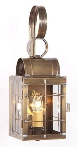 Colonial Entry Lantern Sconce Handcrafted Primitive Weathered Brass throughout Made in Usa Outdoor Wall Lighting (Image 2 of 10)