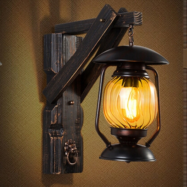 Creative Vintage Iron Wood Lantern Led E27 Outdoor Wall Lamp Loft pertaining to Vintage Outdoor Wall Lights (Image 3 of 10)