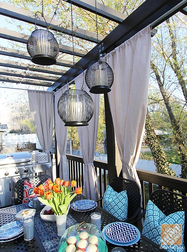 Deck Decorating Ideas: Pergola, Lights And Cement Planters with Outdoor Hanging Lanterns for Patio (Image 4 of 10)