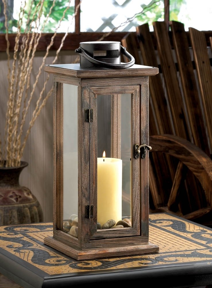 Decorative Candle Lanterns, Large Wood Rustic Outdoor Candle Lantern in Outdoor Hanging Lanterns For Candles (Image 6 of 10)