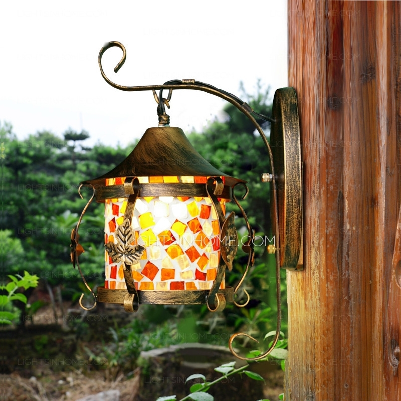 Decorative Hanging Veranda Porch Stained Glass Wall Sconces in Stained Glass Outdoor Wall Lights (Image 3 of 10)