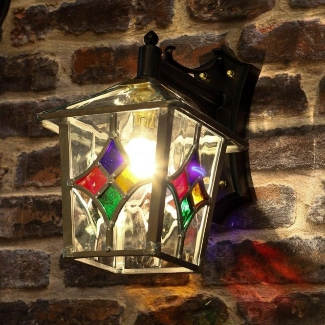 Decorative Traditional Outdoor Wall Lantern With Stain Glass Shade regarding Stained Glass Outdoor Wall Lights (Image 5 of 10)