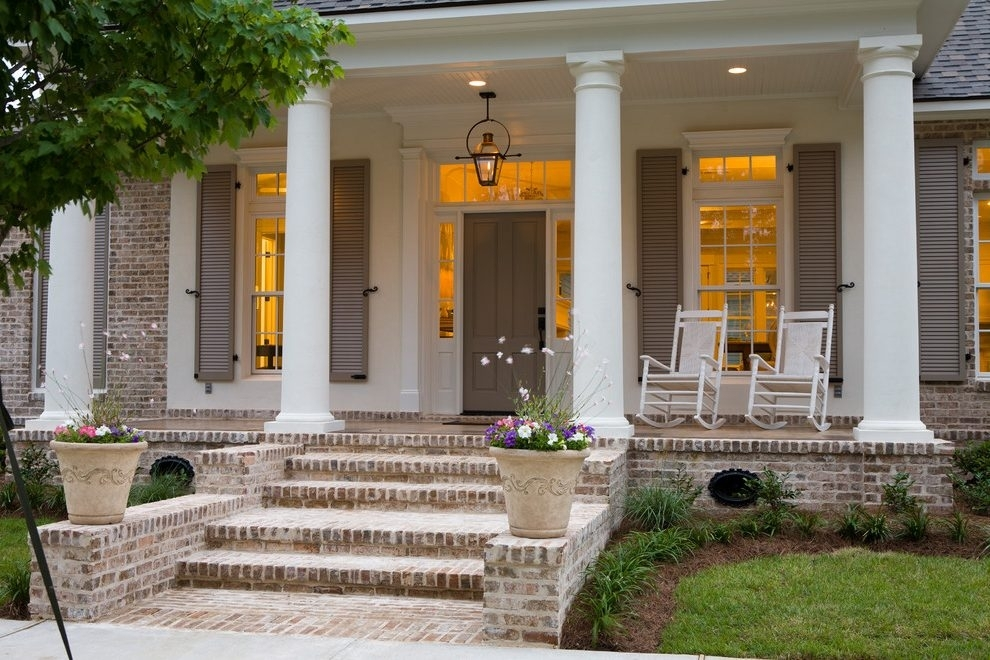 Distressed Trim Porch Traditional With Neutral Tones Burning Outdoor pertaining to Front Door Outdoor Hanging Lights (Image 1 of 10)