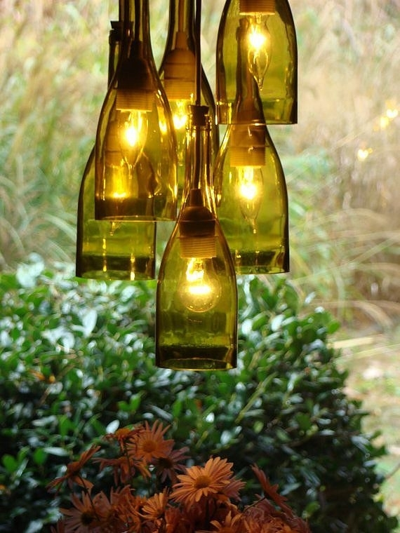 Drink Up! A Diy Chandelier For Wine-Lovers | Diy Chandelier with Outdoor Hanging Bottle Lights (Image 6 of 10)