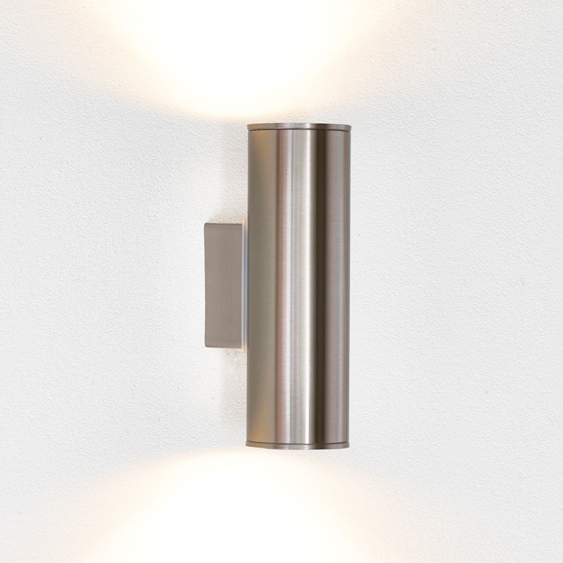 Eglo Riga Twin Led Outdoor Wall Light - Stainless Steel - Lighting intended for Outdoor Wall Spotlights (Image 3 of 10)