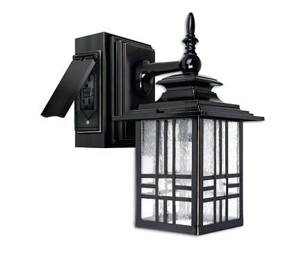 Elegant Outdoor Wall Light With Electrical Outlet And Mission Style Pertaining To Outdoor Wall Lighting With Outlet (Photo 3 of 10)