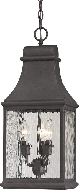 Elk Group   Forged Jefferson 3 Light Outdoor Pendant & Reviews | Houzz Inside Houzz Outdoor Hanging Lights (Photo 6 of 10)