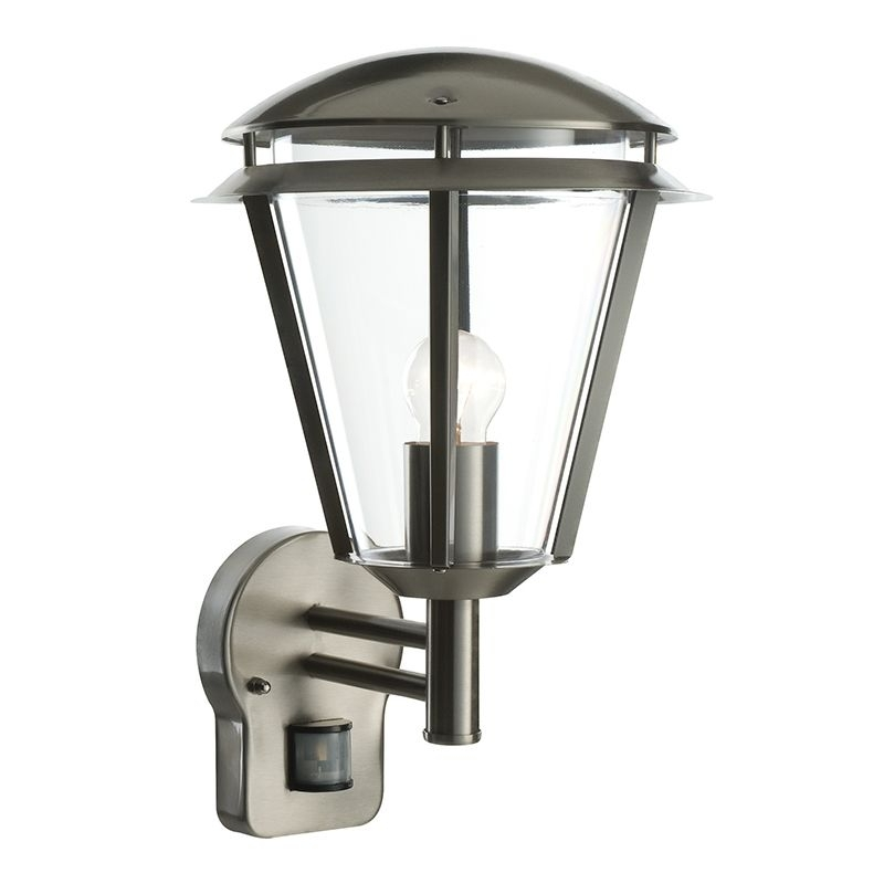 Endon 49945   Inova Pir 1Lt Wall Ip44 60W Brushed Stainless Steel With Endon Lighting Outdoor Wall Lanterns (Photo 7 of 10)