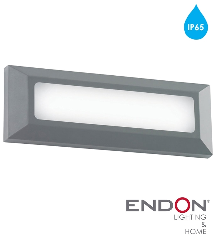 Endon 'severus' Ip65 Led Rectangle Outdoor Wall Light, Grey Abs throughout Plastic Outdoor Wall Lighting (Image 2 of 10)