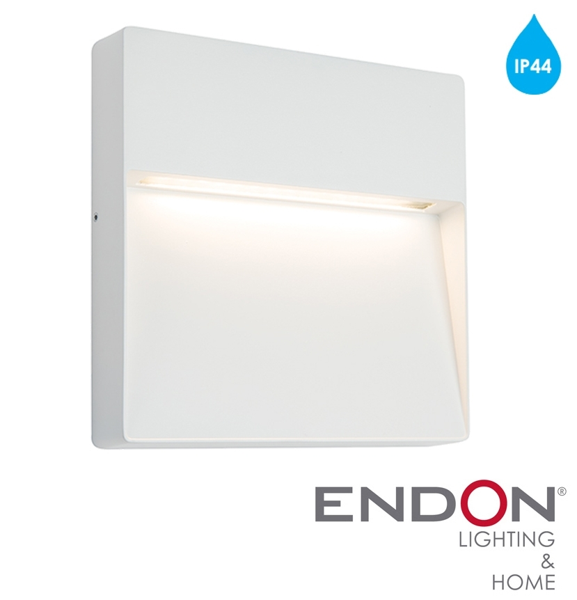 Endon 'tuscana' Ip44 Led Square Outdoor Wall Light, Textured Matt throughout Square Outdoor Wall Lights (Image 6 of 10)