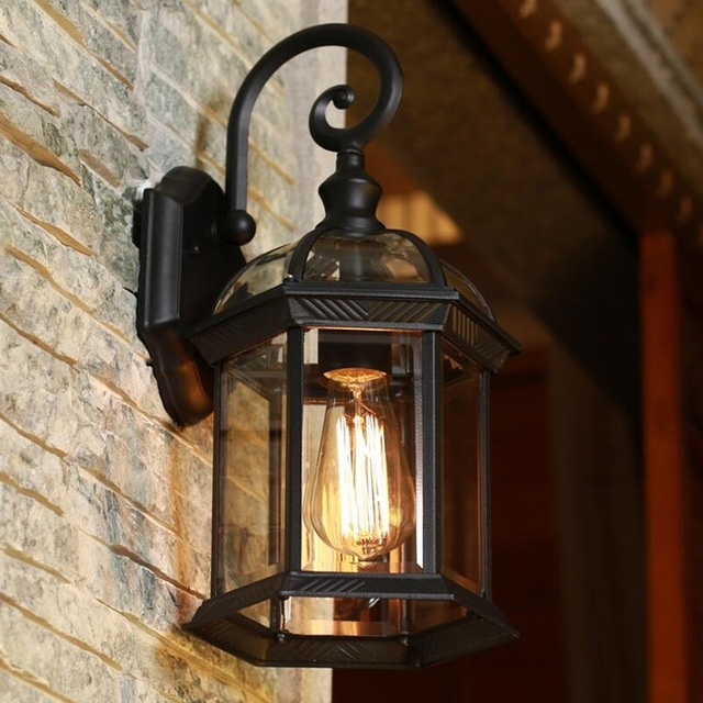 Europe Led Porch Lights Outdoor Wall Lamp Black Housing Clear Glass In Outdoor Wall Porch Lights (View 5 of 10)
