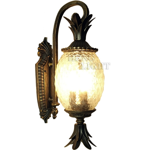 European Style Outdoor Modern Wall Lamps Pineapple Shape Glass + With Pineapple Outdoor Wall Lights (Photo 10 of 10)