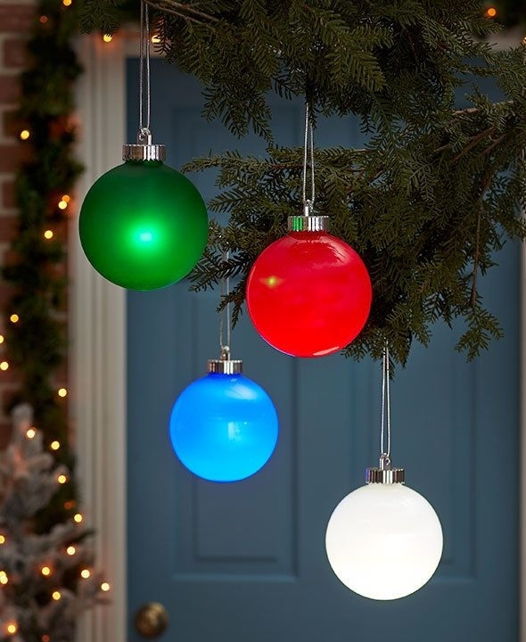 Everglow Christmas Ball Outdoor Hanging Ornament Choose Red Green inside Outdoor Hanging Ornament Lights (Image 5 of 10)