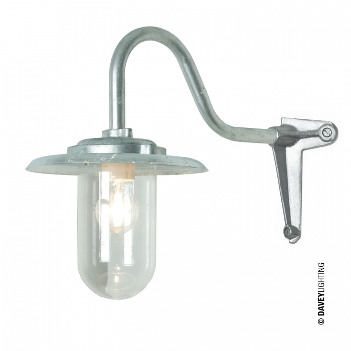 Exterior Bracket Light, 100W, Swan Neck, Corner, Galvanised, Clear with regard to Outdoor Corner Wall Lighting (Image 6 of 10)