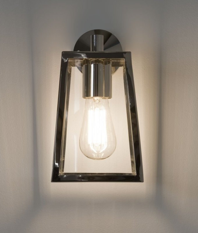 Exterior Clear Glass Wall Lantern H:280Mm Throughout Chrome Outdoor Wall Lighting (Photo 8 of 10)