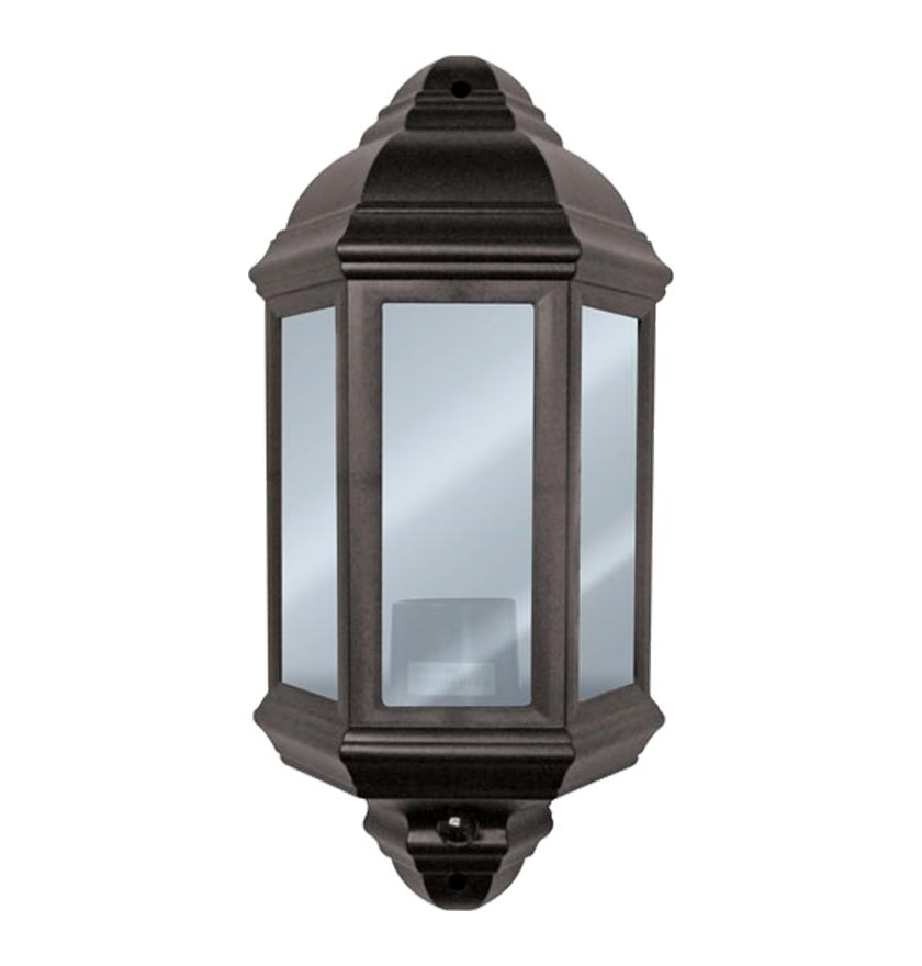 Exterior Half Lantern Black Polycarbonate Wall Light With Pir Sensor For Half Lantern Outside Wall Lights (View 8 of 10)