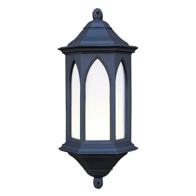 Exterior Light. York Outdoor Garden Black Stone Gothic Style Wall Light (View 6 of 10)