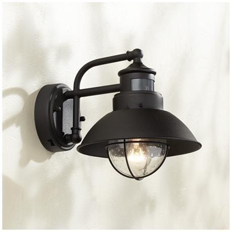 "Fallbrook 9""h Black Dusk To Dawn Motion Sensor Outdoor Light | Dusk for Farmhouse Outdoor Wall Lighting (Image 3 of 10)"
