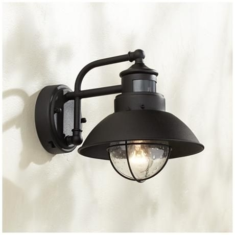 "Fallbrook 9""h Black Dusk To Dawn Motion Sensor Outdoor Light 