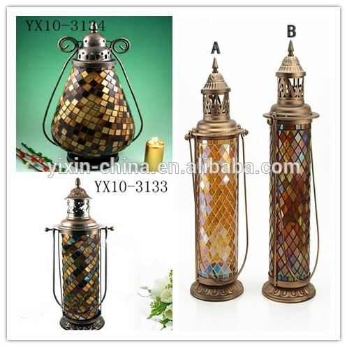 Flower Pattern Color Mosaic Hanging Vintage Candle Lanterns/outdoor within Outdoor Hanging Glass Lanterns (Image 4 of 10)