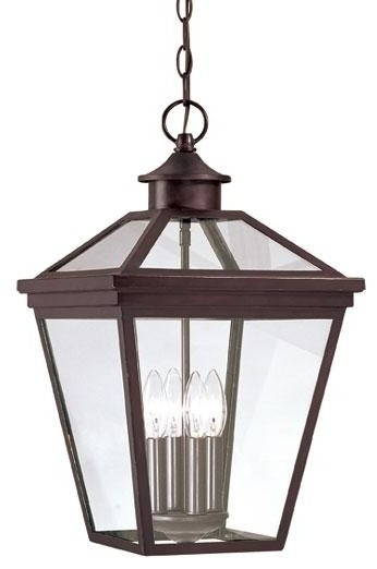 Four Light English Bronze Clear Glass Hanging Lantern - Traditional throughout Outdoor Hanging Glass Lanterns (Image 5 of 10)